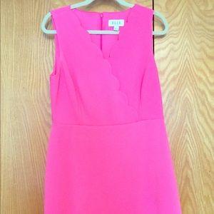 Elle Hot Pink Scalloped Dress